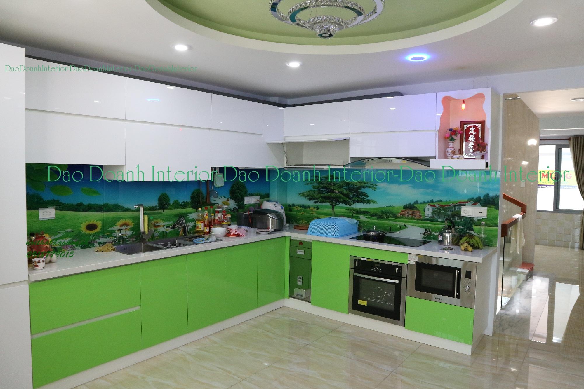Tủ bếp Acrylic bóng gương cao cấp